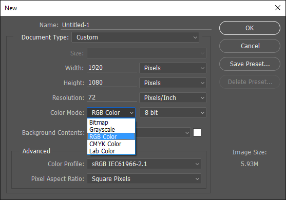 Photoshop Tips: Color Mode RGB