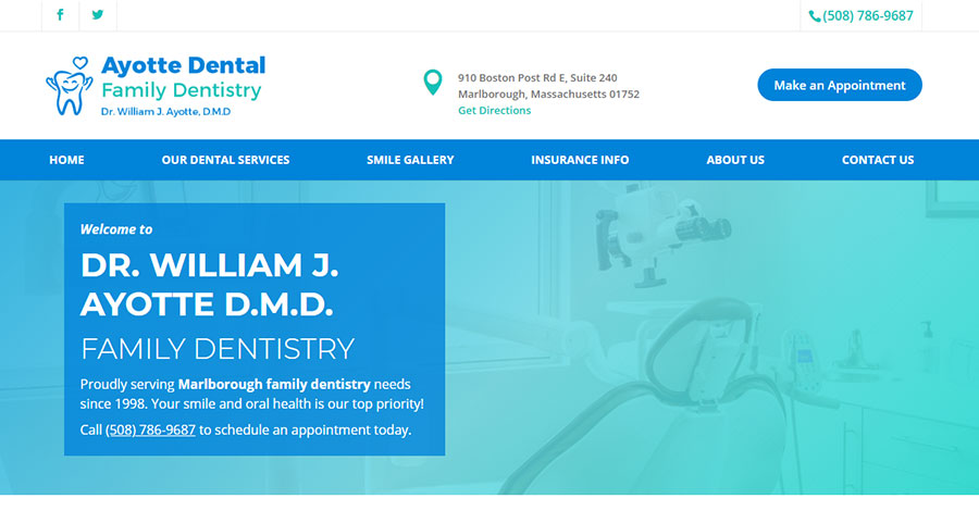 Ayotte Dental's website homepage.