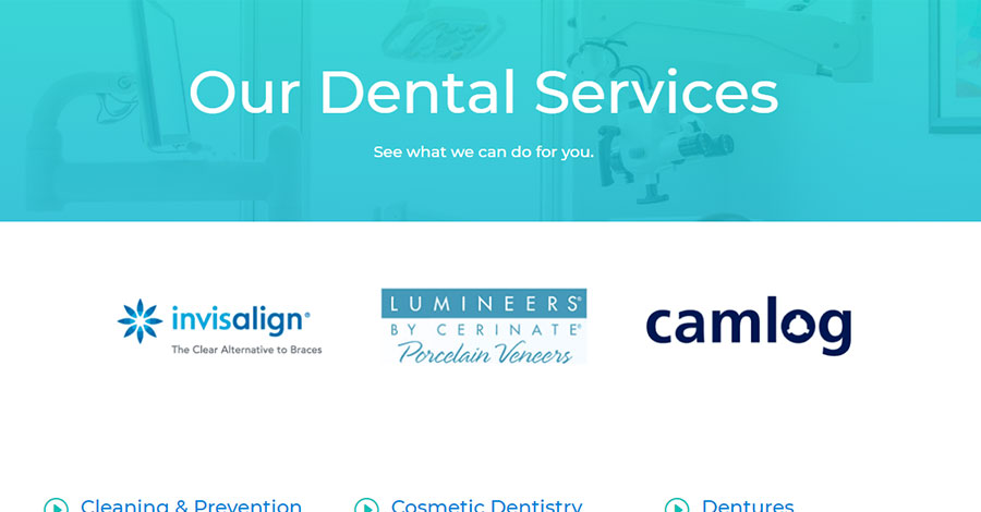 Ayotte Dental's services page.